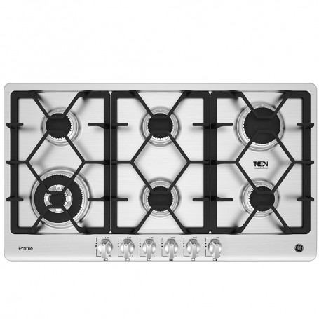 GE Plancha de cocina a gas 6 quemadores con encendido eléctrico 90cm PGP96TI0