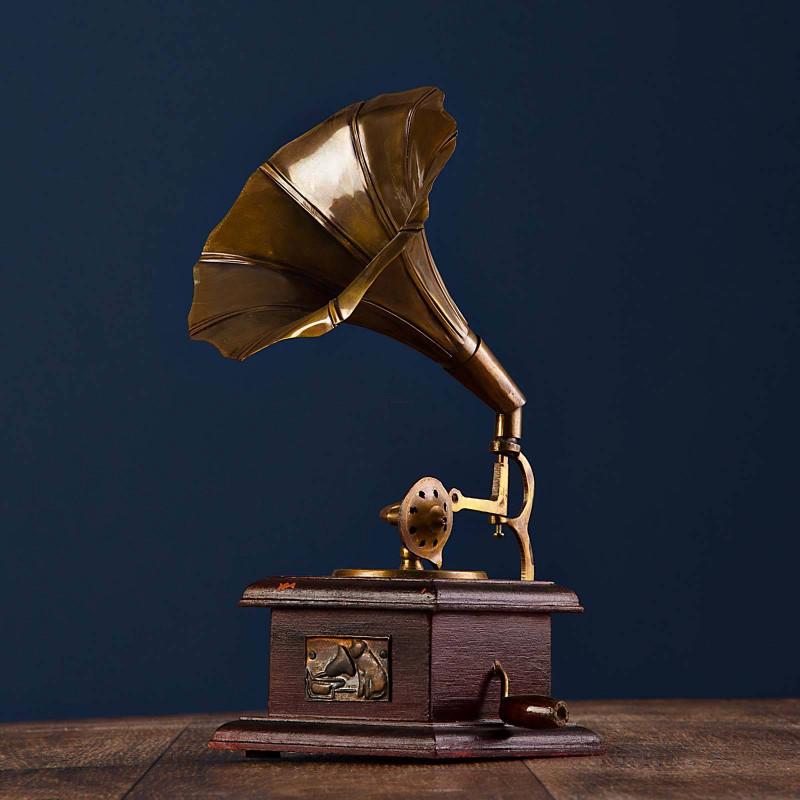 Adorno Gramófono con base Bronce Haus