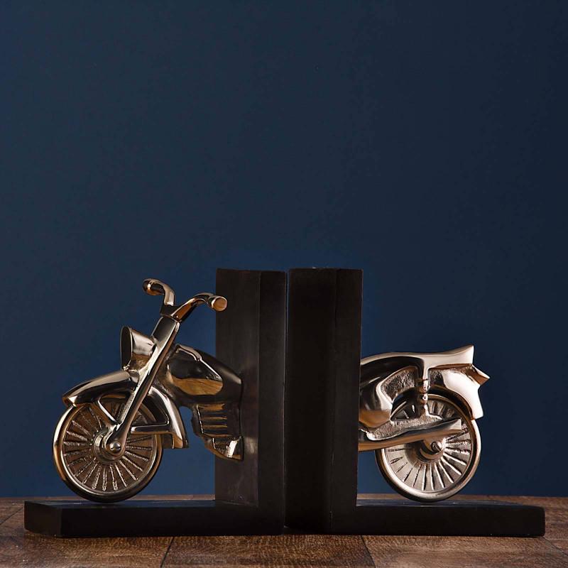 Juego de 2 apoya libros Motocicleta Haus