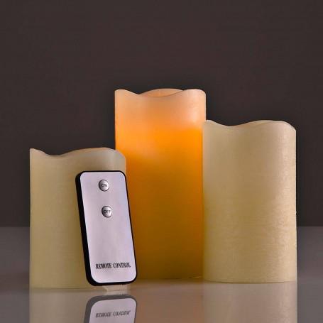 Juego de 3 velones LED con control remoto Beige Haus