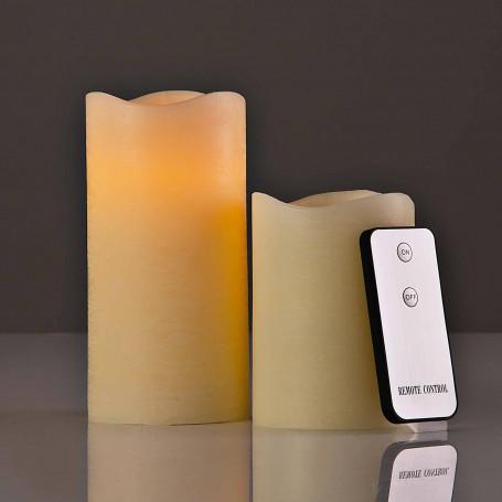 Juego de 2 velones LED con control remoto Beige Haus