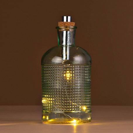 Botella con luz LED y corcho Haus