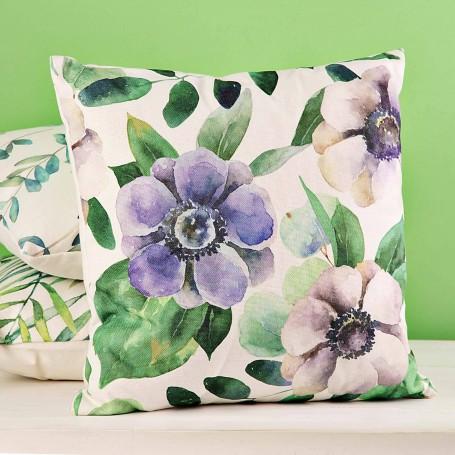 Cojín relleno Flores Nostalgic Verde / Lila Haus