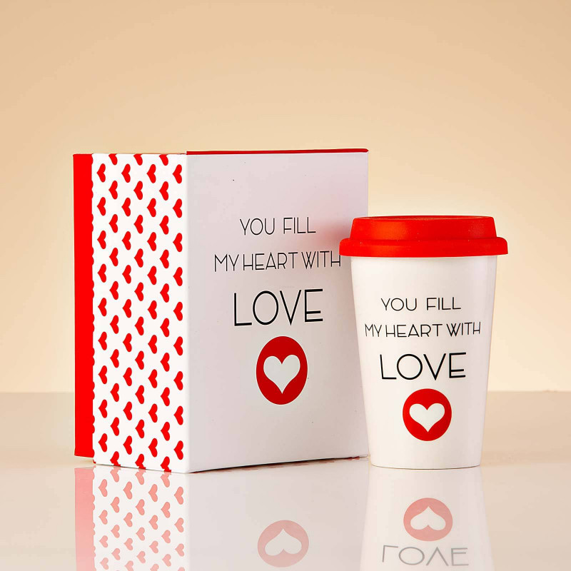 Vaso con tapa YOU FILL MY HEART WITH LOVE Haus