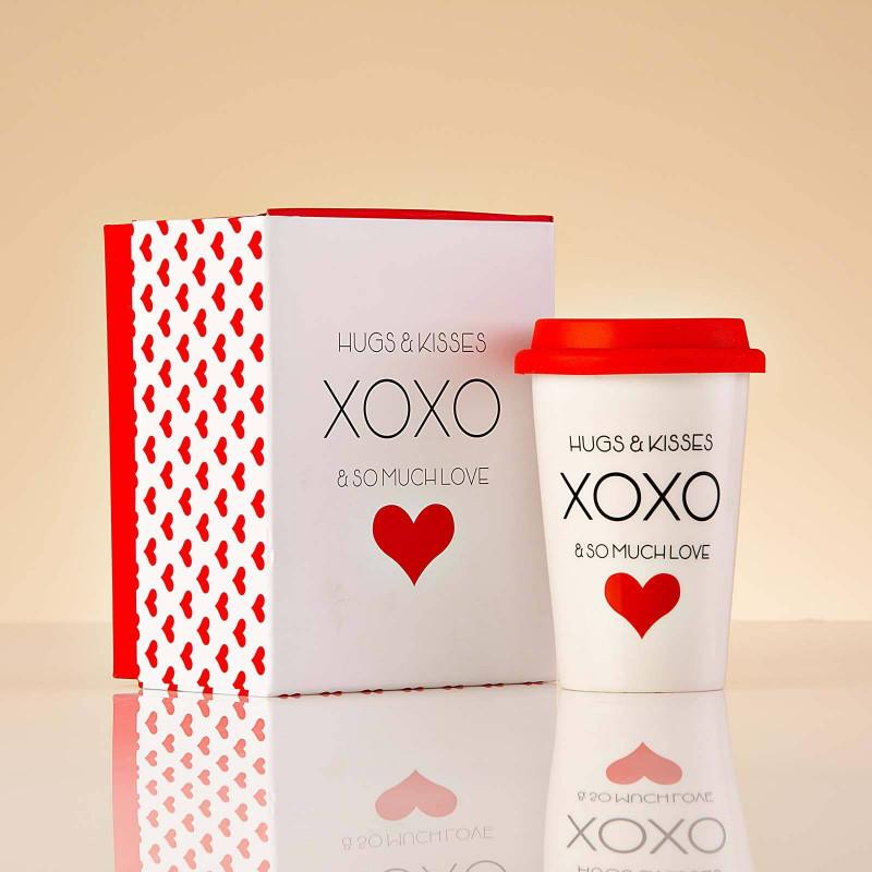 Vaso con tapa HUGS & KISSES XOXO AND SO MUCH LOVE Haus