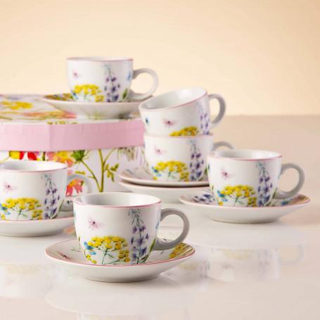 Juego de tazas y platos para expreso con caja de regalo Flores Haus