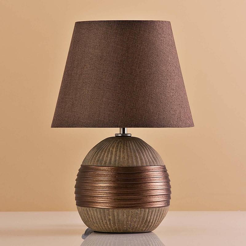 Lámpara de mesa Base Redonda Habano / Franja Bronce