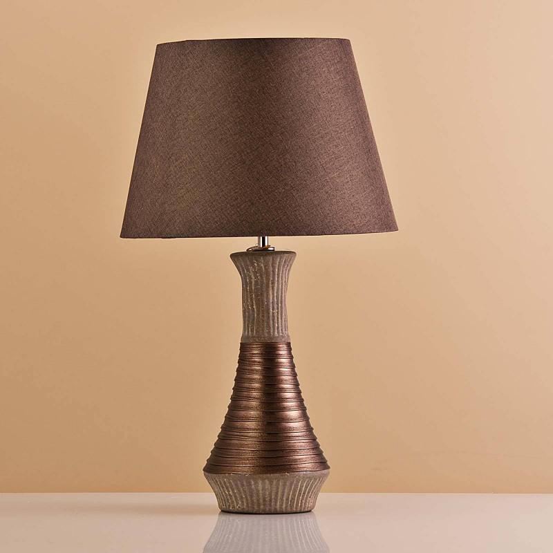 Lámpara de mesa Base Botella Habano / Franja Cobre