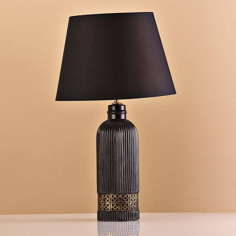 Lámpara de mesa Base Alargada Negro / Franja Dorada
