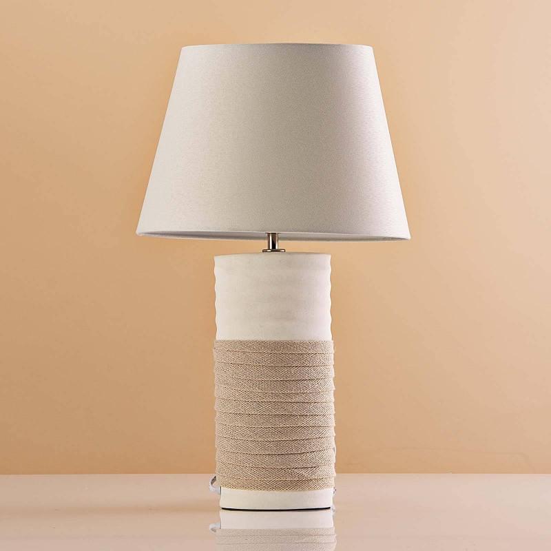 Lámpara de mesa Base Cónica Blanco / Franja Crudo