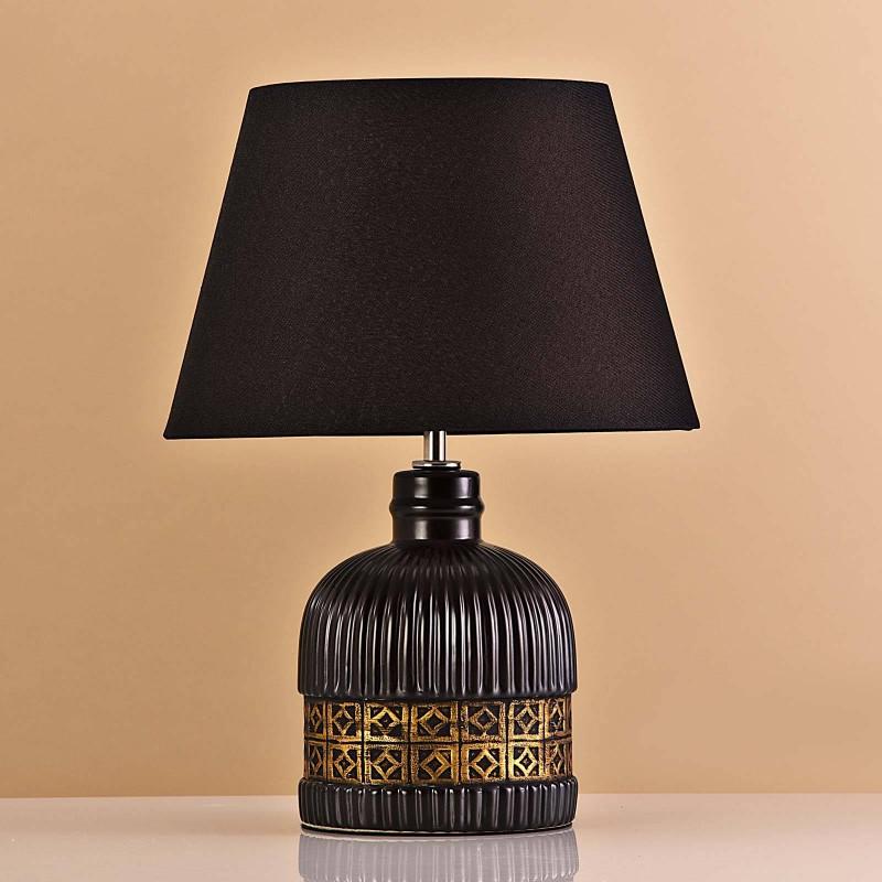 Lámpara de mesa Base Negro / Franja Dorada