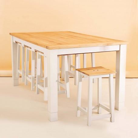 Mesa desayunador con bancos Blanco / Natural