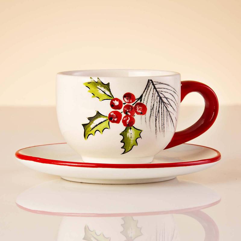 Juego de taza y plato para café Poinsettia