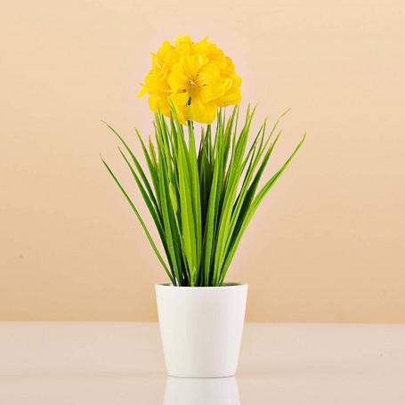 Planta artificial pequeña con flor y maceta Haus