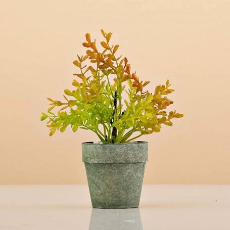 Mini planta artificial con maceta verde Haus