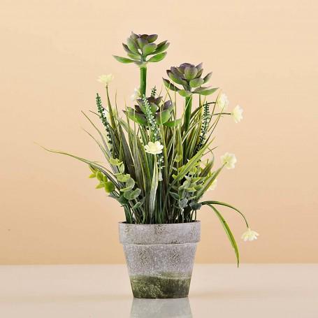 Planta artificial pequeña Suculenta con maceta Haus