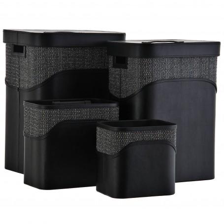 Colección de dormitorio y baño rectangular con tejido negro Haus