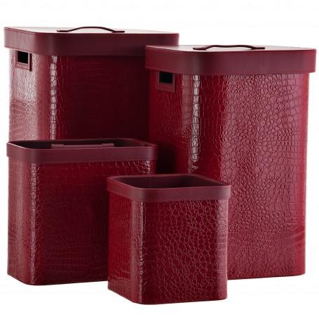 Colección de dormitorio y baño cuadrado Croco Christmas rojo Haus