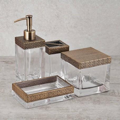 Colección de baño de vidrio y metal Dorado
