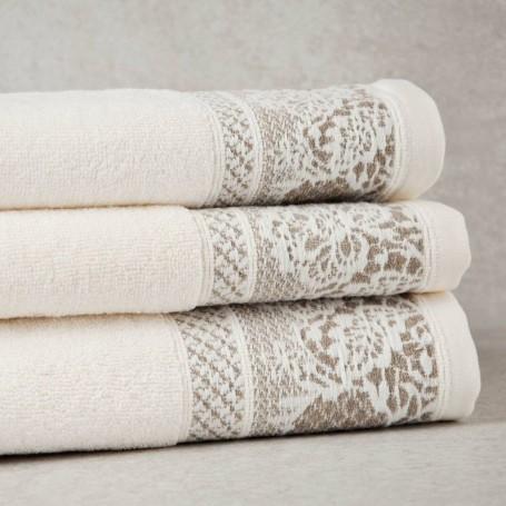 Colección de toallas Beige Borde Flores Sousa Dias