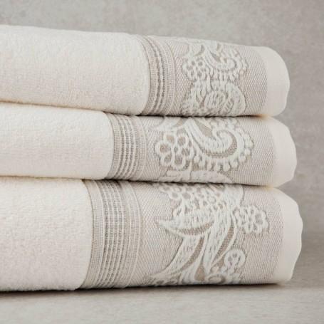 Colección de toallas Beige Borde Arabesco Sousa Dias