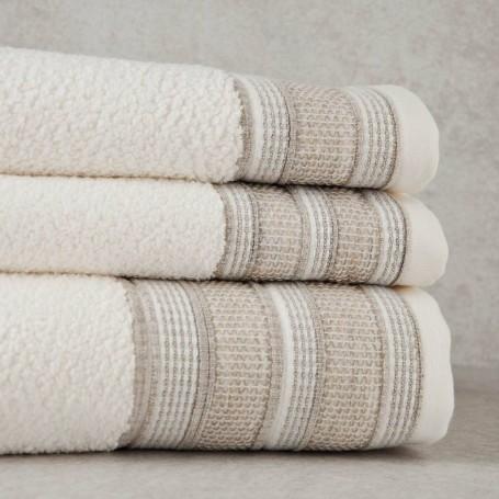 Colección de toallas Beige Borde Líneas Sousa Dias
