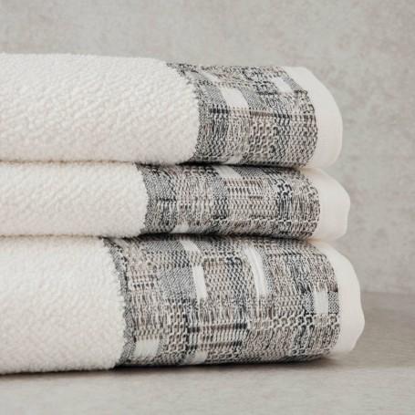 Colección de toallas Blanco Borde Líneas Sousa Dias