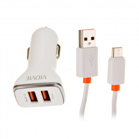 Cargador para auto con cable Tipo-C 2 USB / 2.4mAh VIDVIE