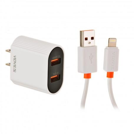 Cargador de pared con cable Lightning 2 USB / 2.4mAh VIDVIE