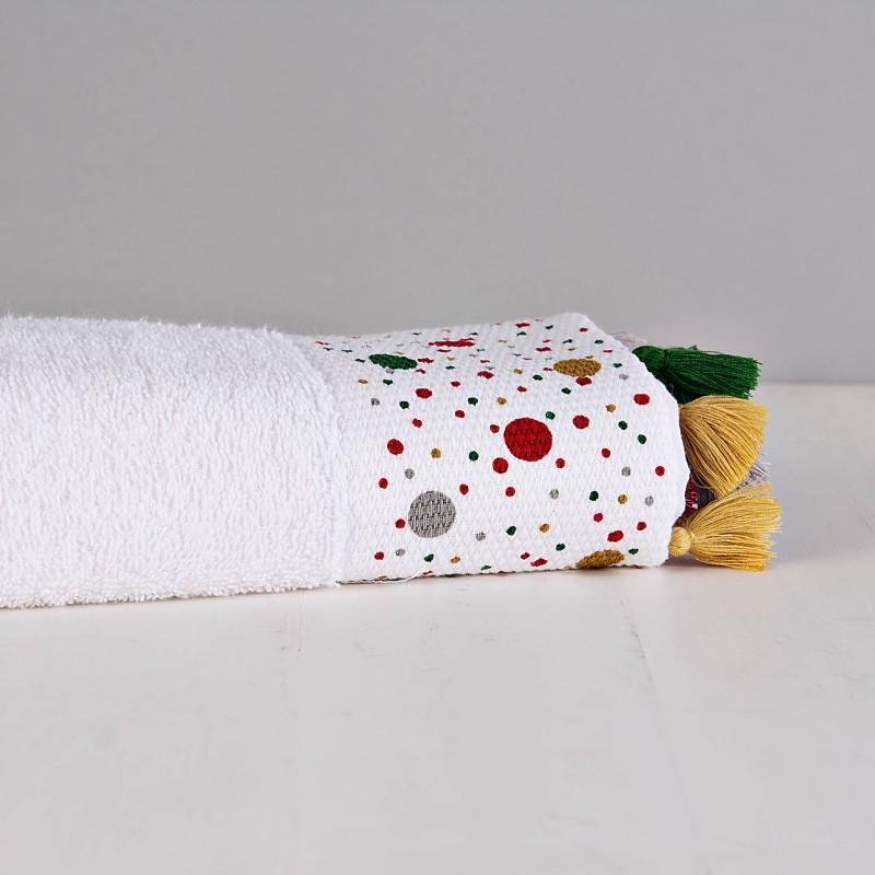 Toalla de manos Blanco / Puntos Multicolor con borlas Haus