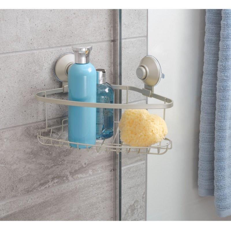 Organizador esquinero para ducha con ventosas Silver Everett Roll Interdesign