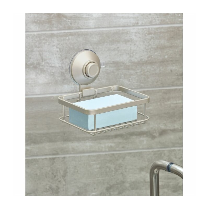 Jabonera con ventosa Silver Everett Roll Interdesign