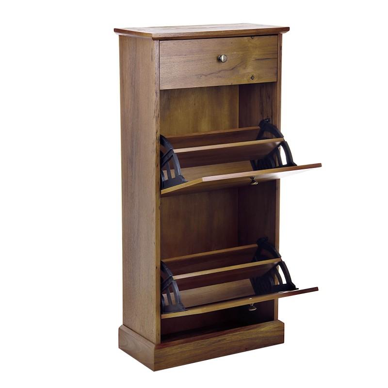 Mueble zapatera 2 cajones vaivén / 1 cajón pequeño superior Café