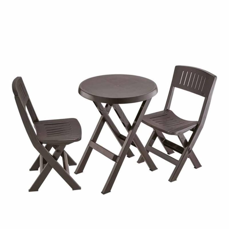Mesa con 2 sillas plegables Wengue Rimax