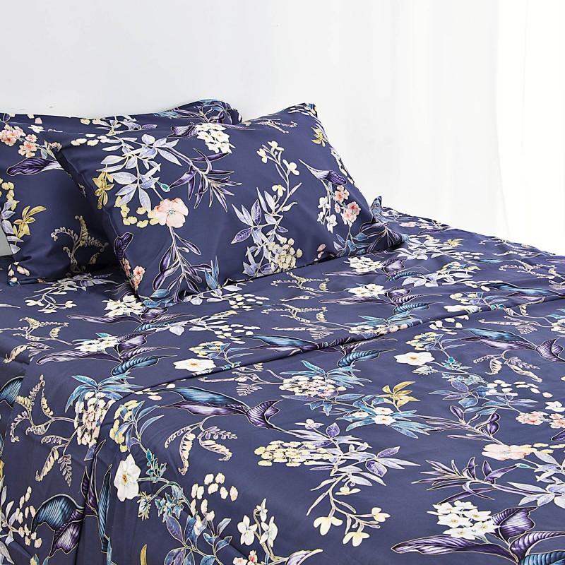 Juego de sábanas Flores Multi Azul 300 hilos Haus