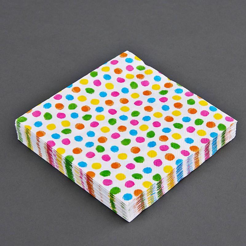 Juego de 20 servilletas lunch Puntos Multicolor