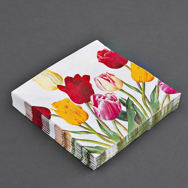 Juego de 20 servilletas lunch Tulipanes Multicolor