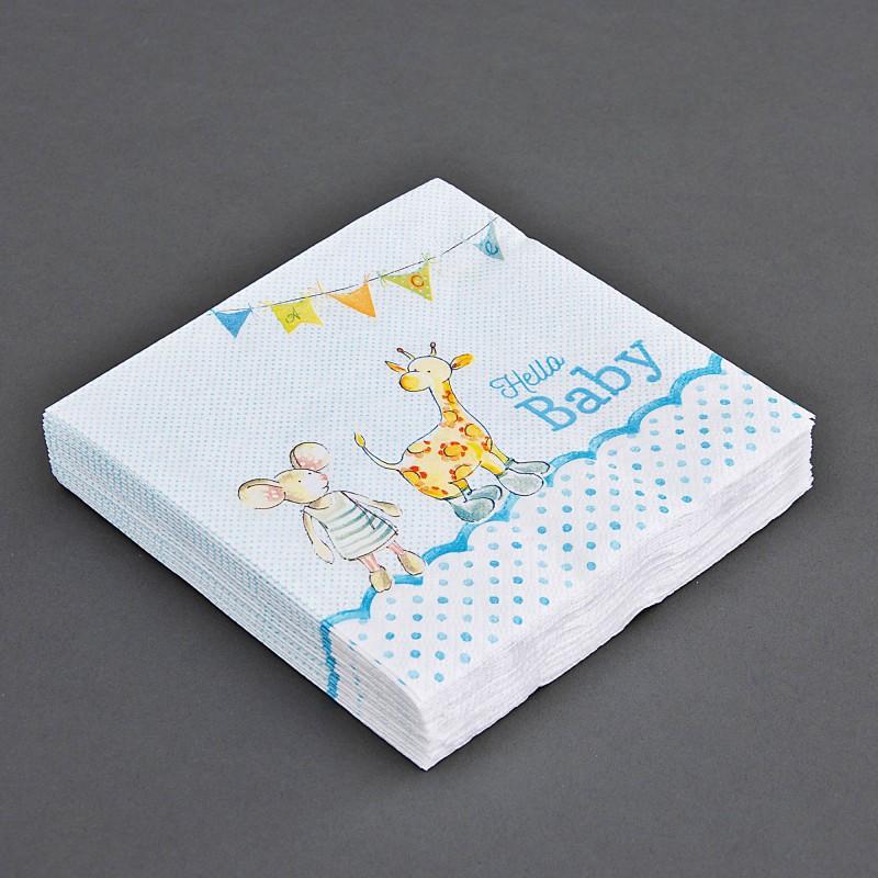 Juego de 20 servilletas lunch Hello Baby Azul / Rosado