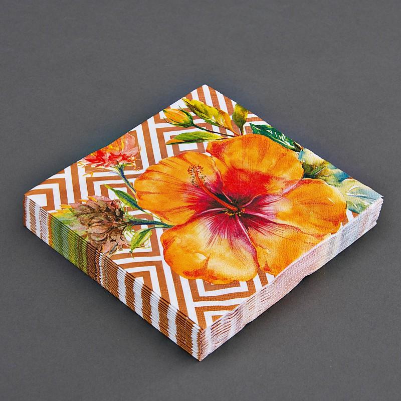 Juego de 20 servilletas lunch Flor Naranja