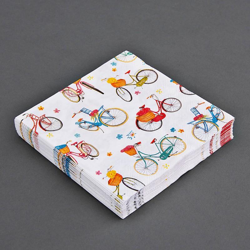 Juego de 20 servilletas lunch Bicicletas Multicolor