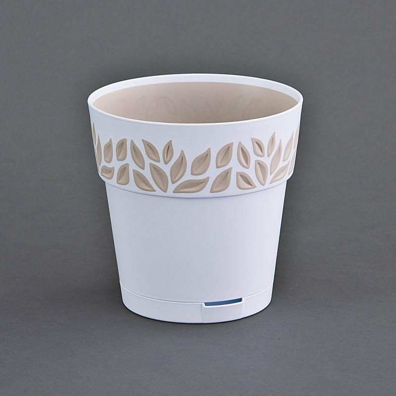 Maceta con sistema de riego Hojas Cloe Stefanplast