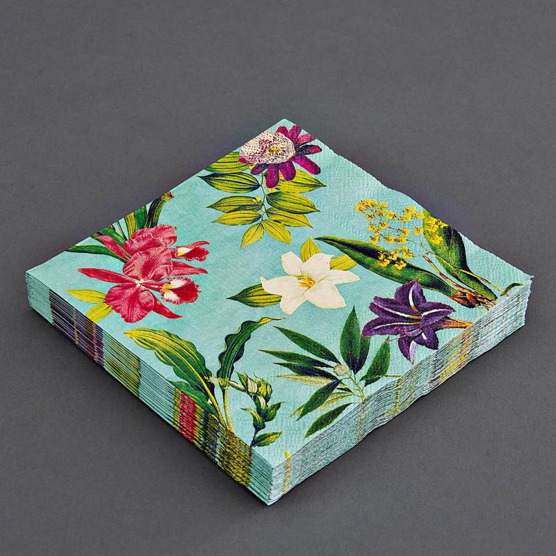 Juego de 20 servilletas lunch Flores Tropical