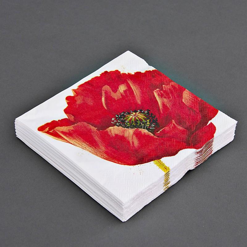 Juego de 20 servilletas lunch Flor Roja