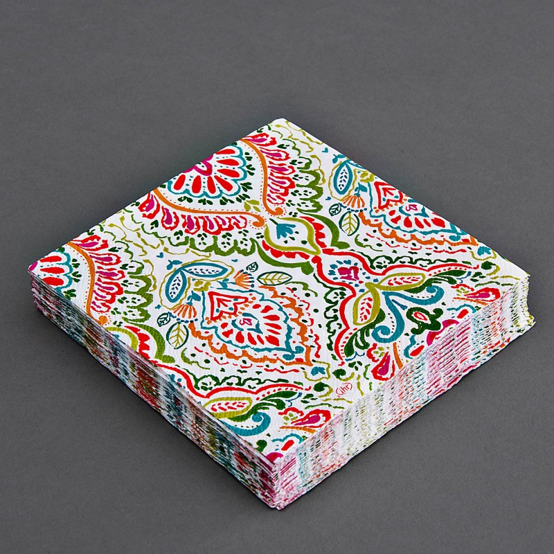 Juego de 20 servilletas lunch Mandalas Multicolor