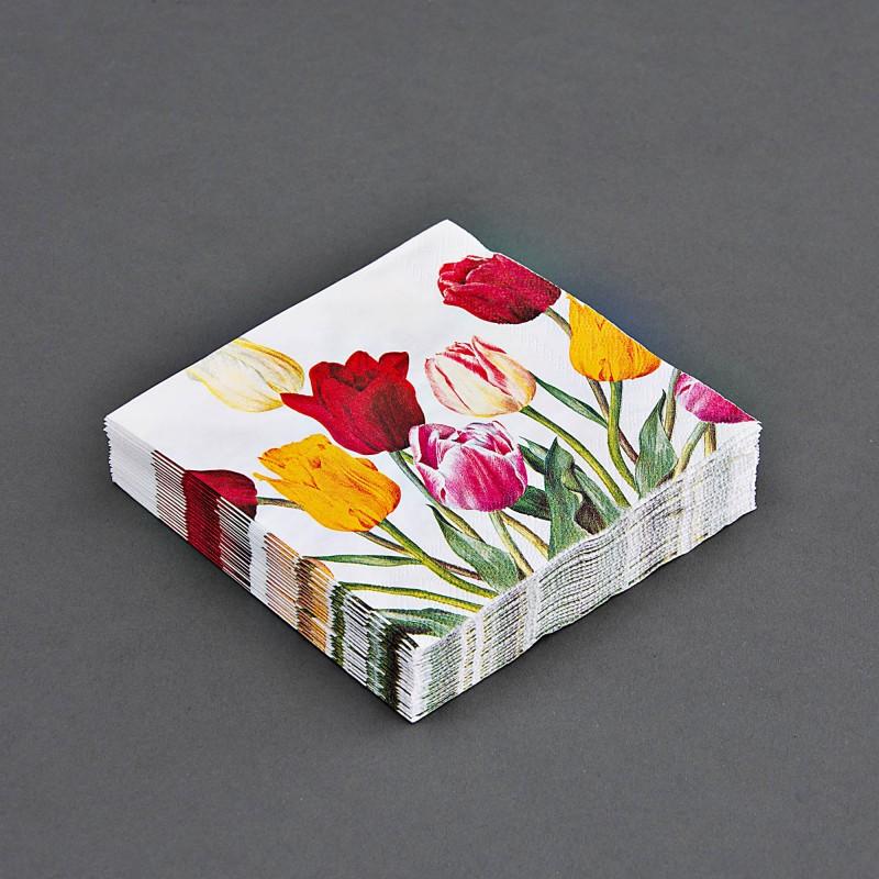 Juego de 20 servilletas cocktail Tulipanes Multicolor
