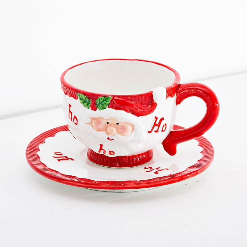 Juego de taza y plato para té Santa Ho Ho