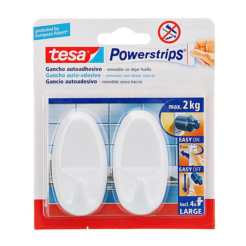Juego de 2 ganchos adhesivos ovalados Tesa