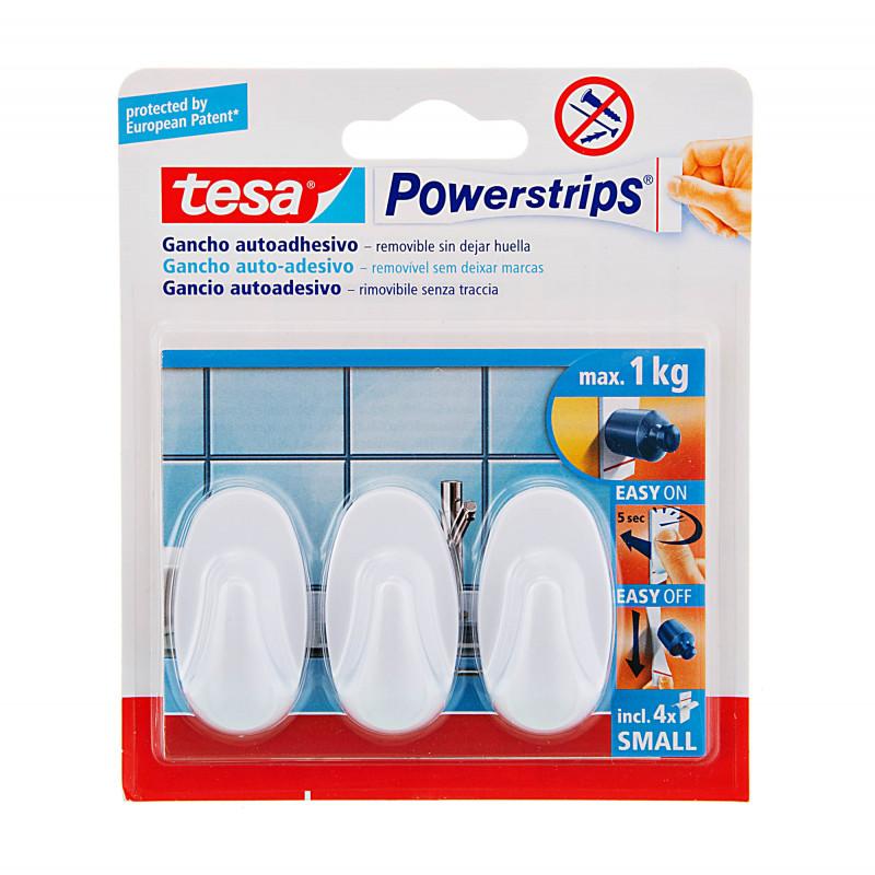 Juego de 3 mini ganchos adhesivos ovales Tesa