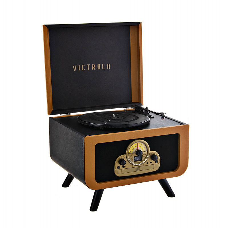 Tocadiscos 3 velocidades BT / CD / AUX / Radio AM-FM / Parlantes incorporados VTA-30-CAM Victrola