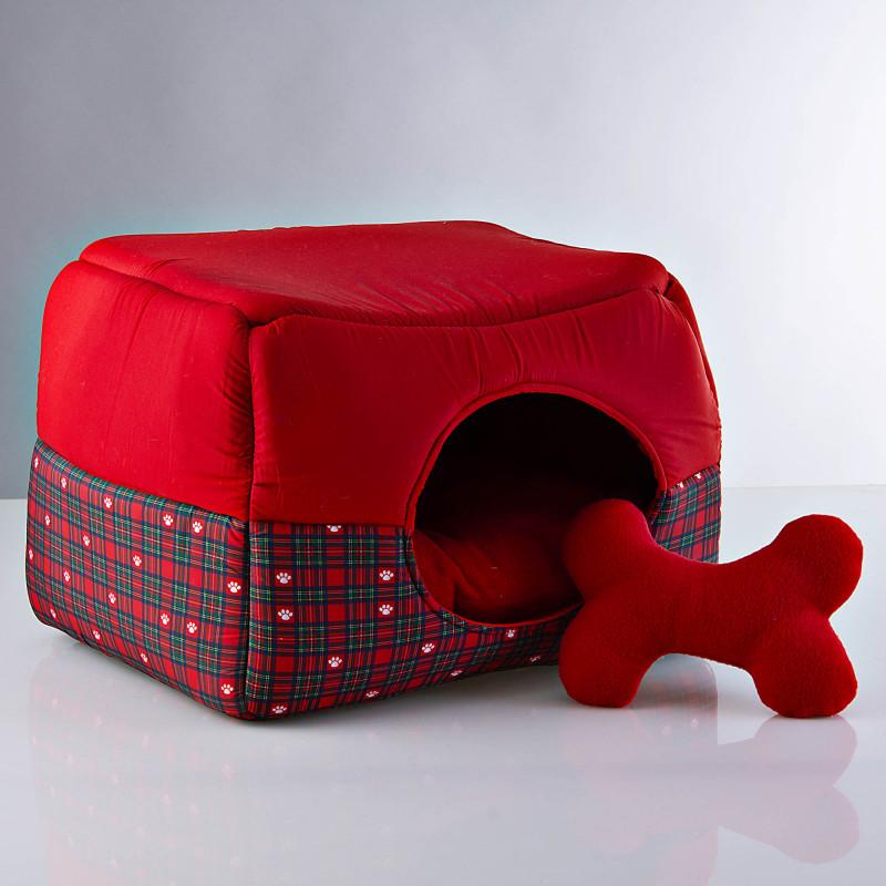 Cama Cubo para mascota Holiday Escocés
